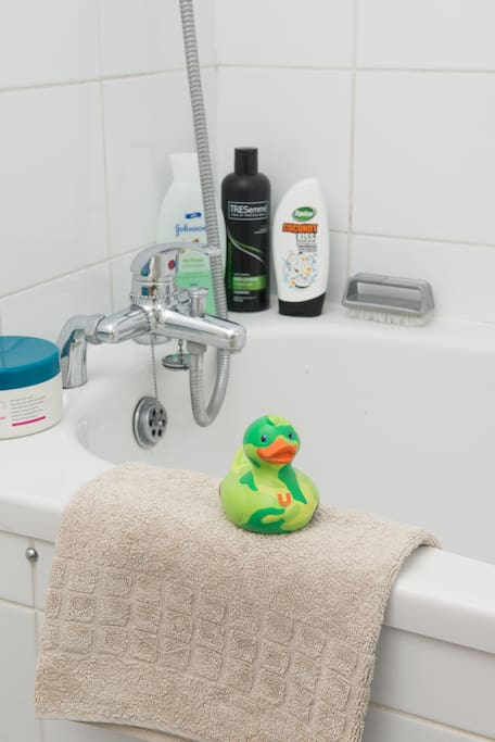 A bathroom duck. We provide a shampoo, conditioner, bath liquid etc.