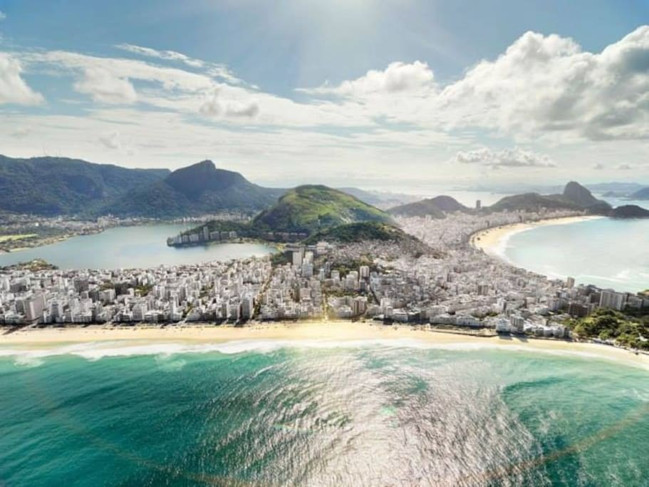 Ipanema (two blocks from the apartment), Copacabana Beach and Lagoon at right background beach.
