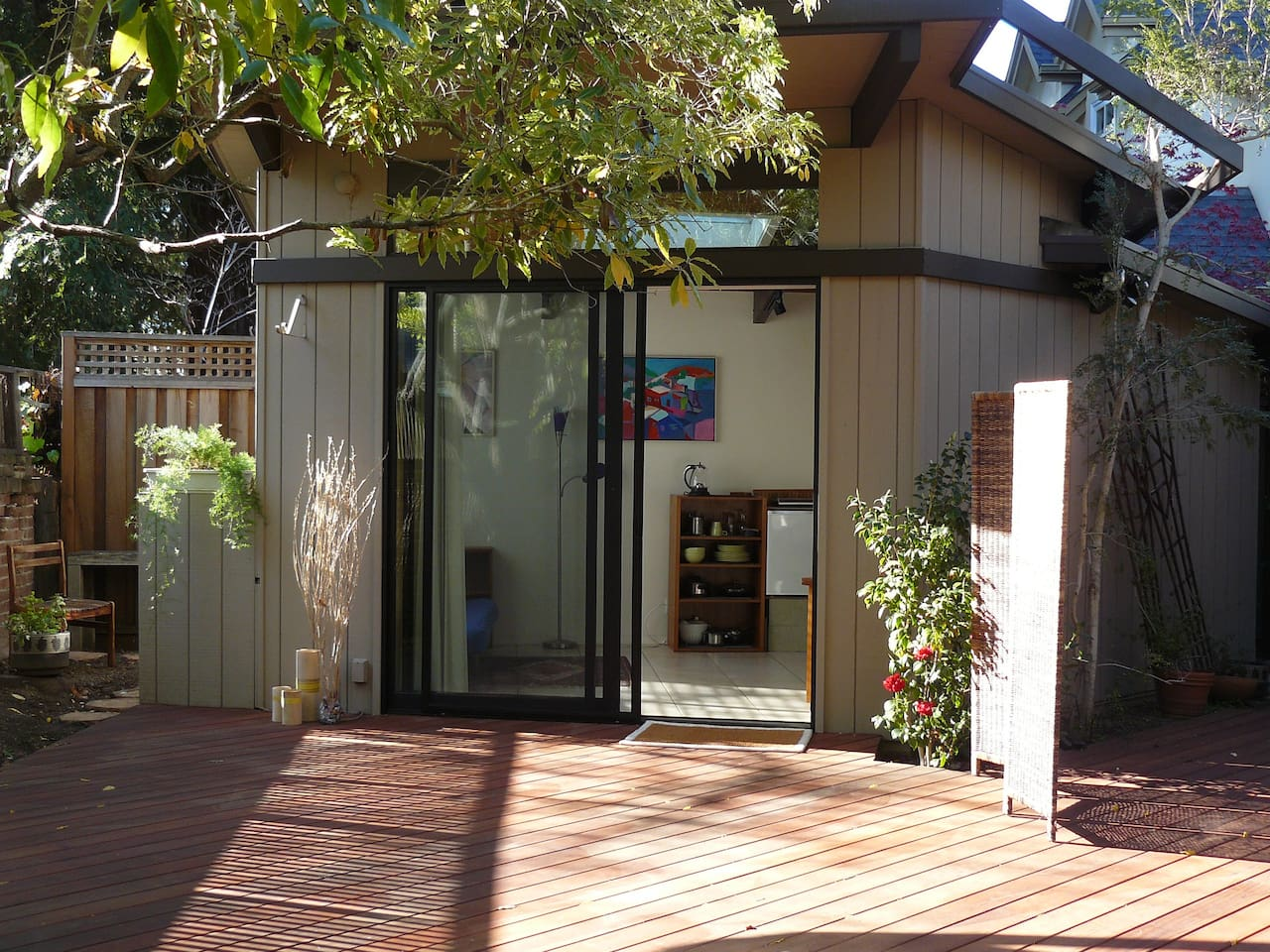 View of studio from redwood deck