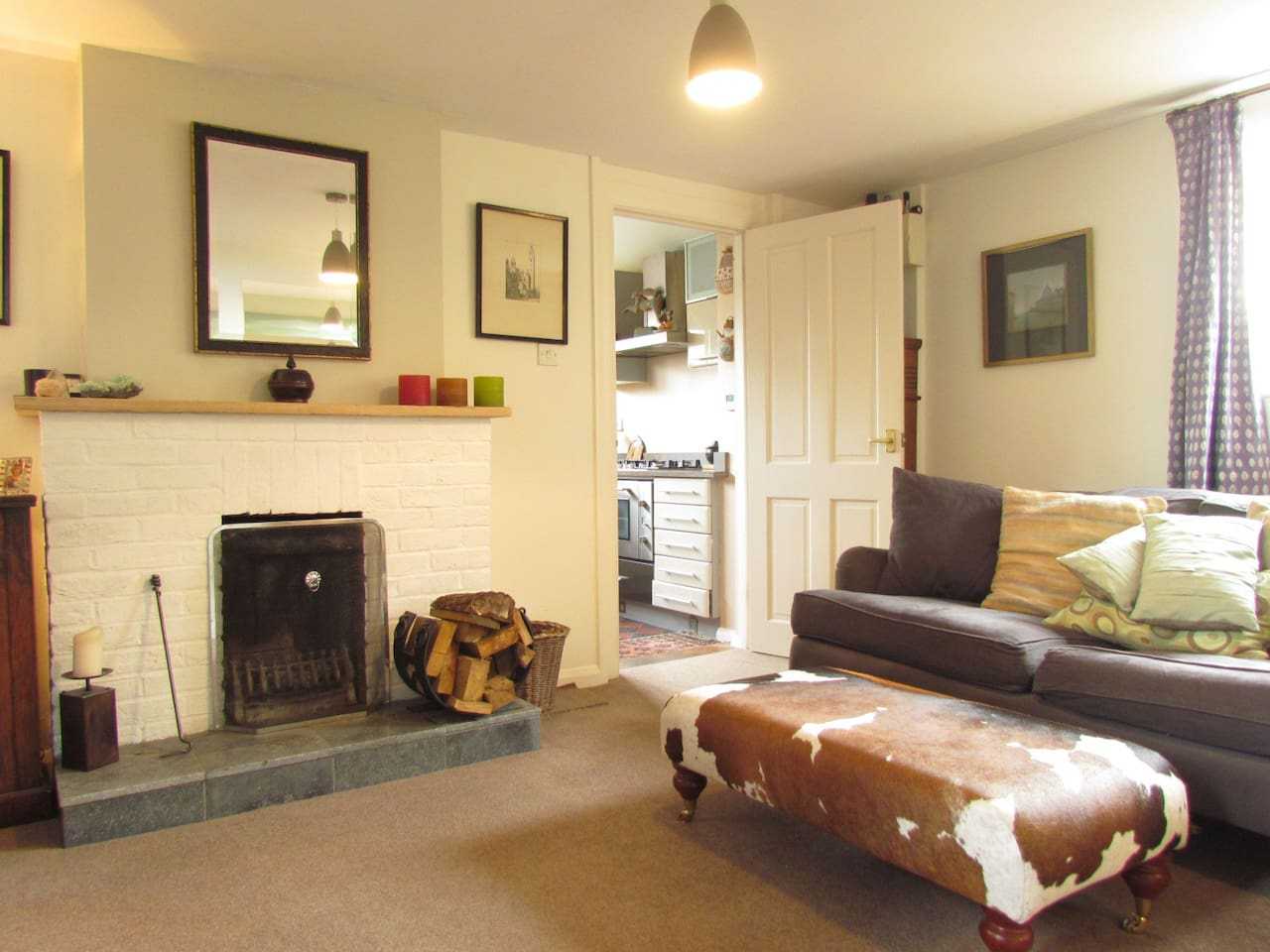 Open fire for those cosy nights in. Door leading in from the kitchen.