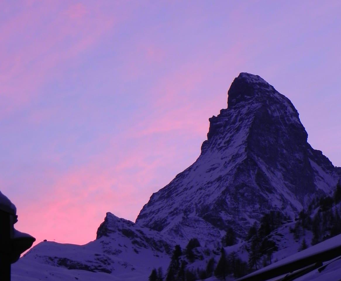 Dusk view of the mythical Matterhorn