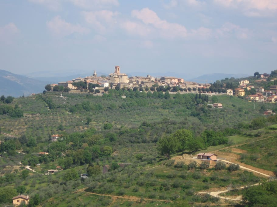 Bettona, medieval village on top of a hill covered with olive trees