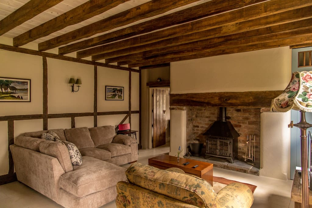 Cozy cottage living space.