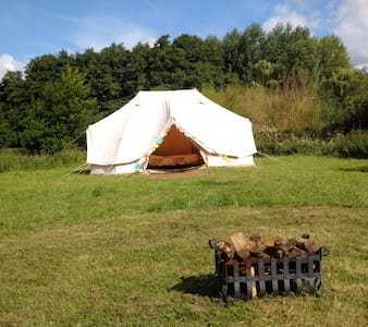 Glamping at Loddon Mill Arts Bell tent & burner - Loddon