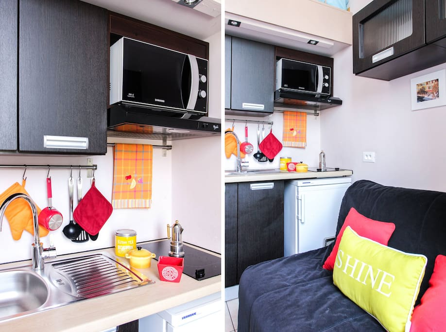 Sofa bed for 2 people and kitchen fully equipped
