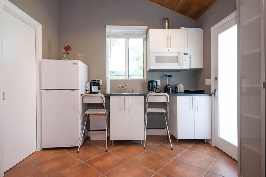 Mini kitchen with refrigerator, keurig coffee machine, sink, convection microwave, blender, hot plate, toaster, electric hot water maker.