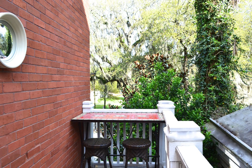 Private balcony with bar overlooking Forsyth Park