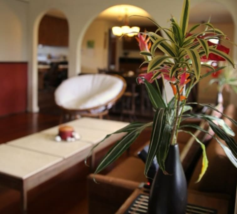 Fresh flowers add to the island ambiance.