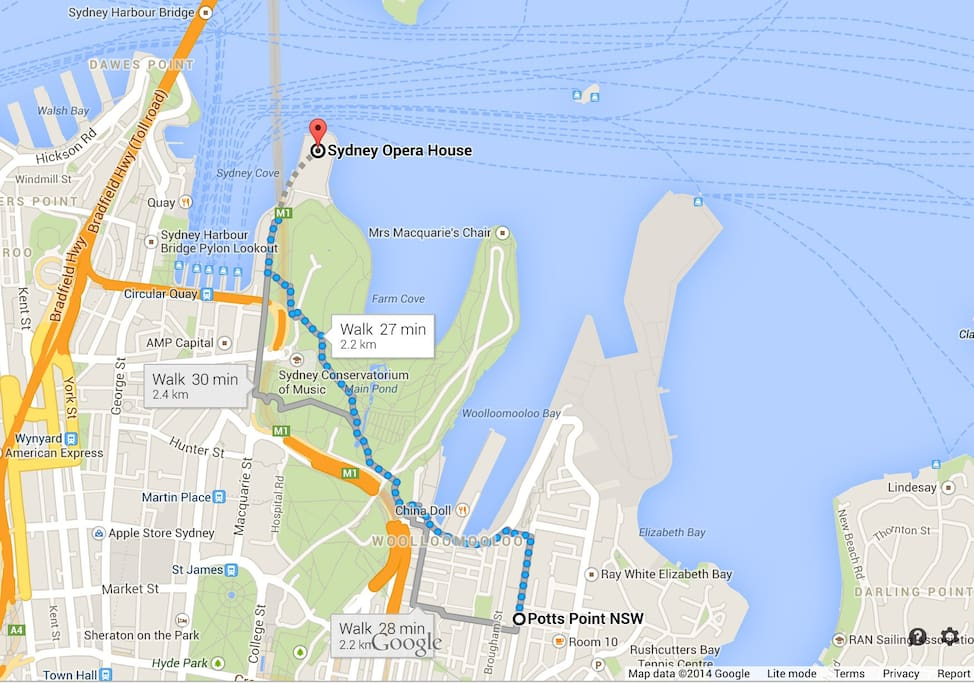 The apartment is 2.2km from the Opera House. Maps thinks it takes 27 minutes to walk 2.2km. They must assume to stop for a coffee on the way