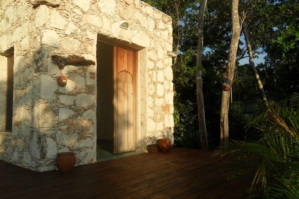 porch and entrance in the morning sun