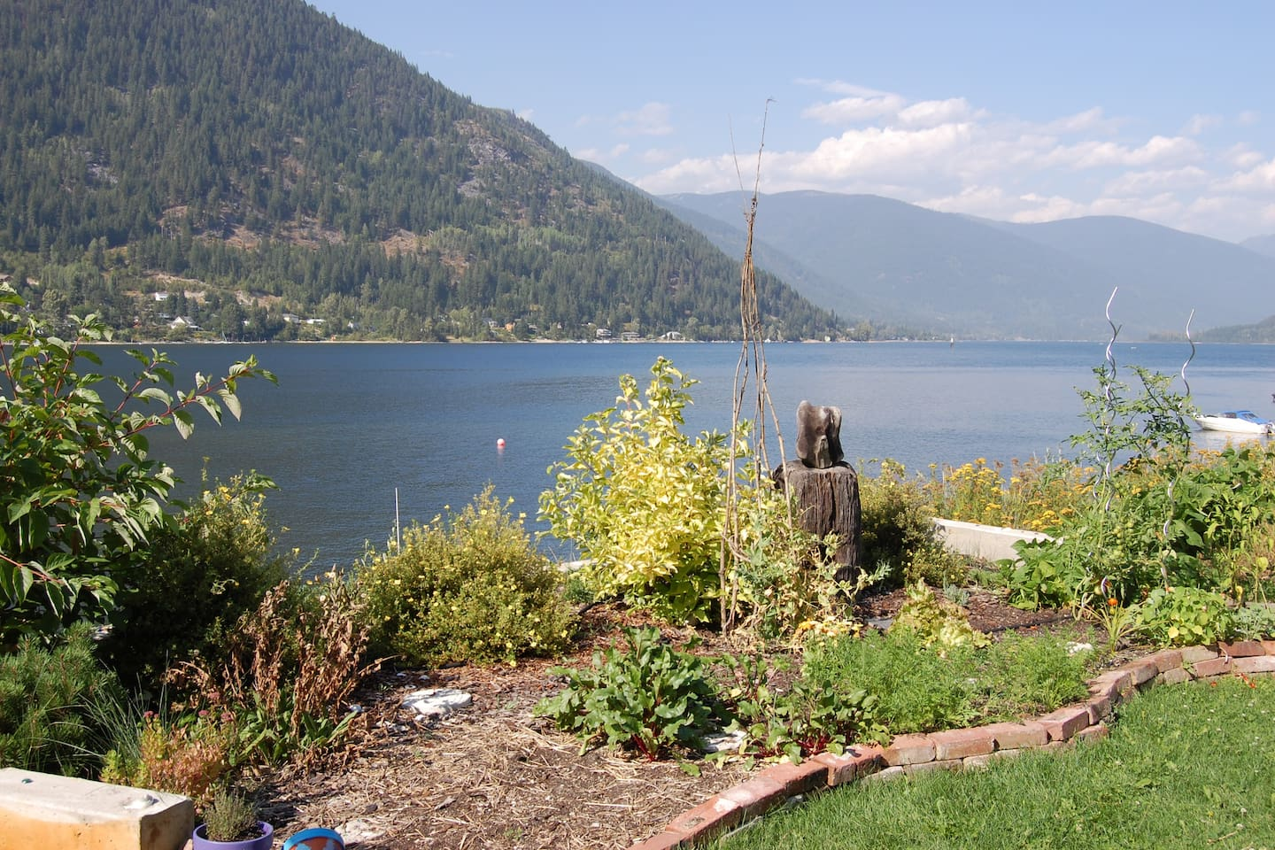 View from garden looking north up Kootenay Lake.