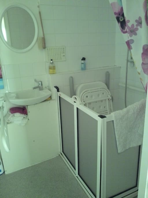 The shower is suitable for guests with disabilities.