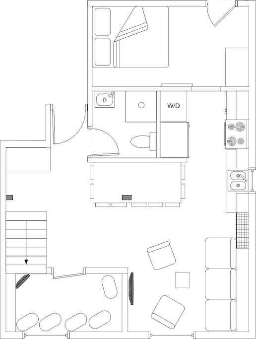 Floor plan of the first of the two stories of this heritage condo.  Everything is new!