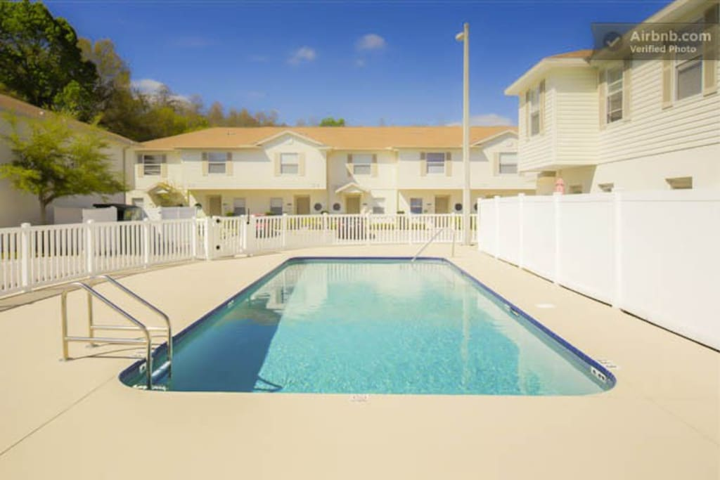 Your pool is only 20 feet from your front door.   We have 3 pool chairs and 2 lounger chairs inside the home.  Also have balls, noodles and pool items for the kids.