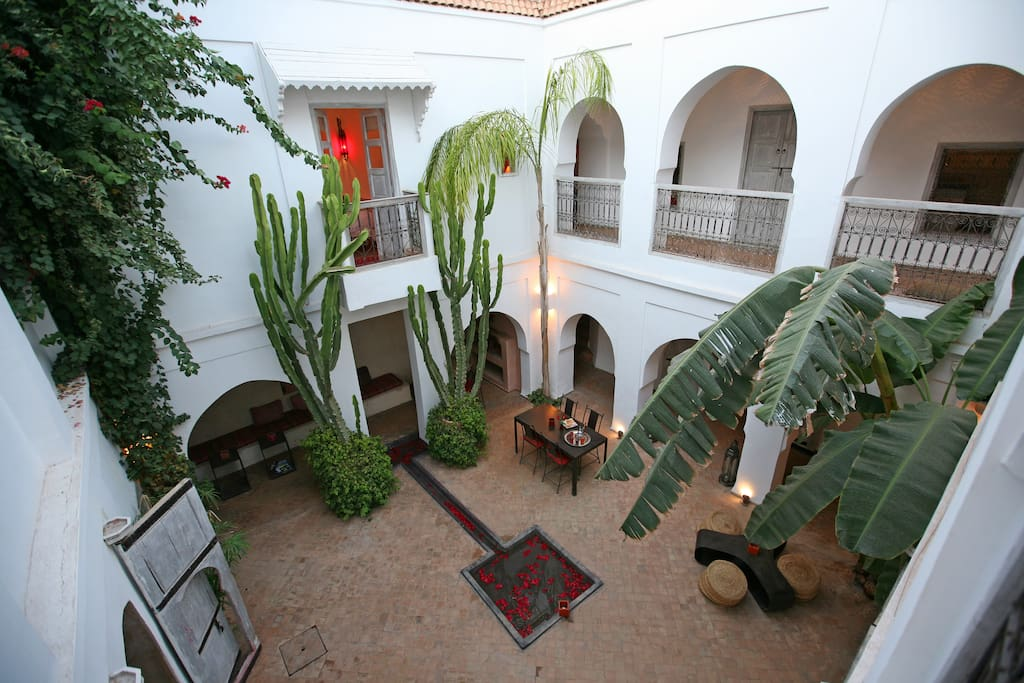Views of the patio from first floor corridor.