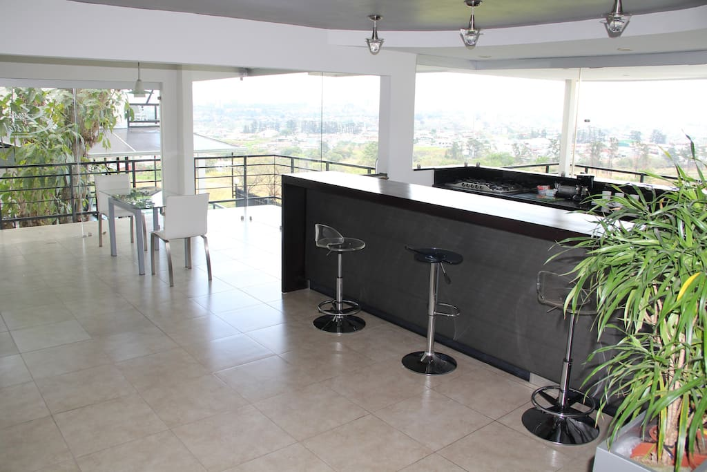 Dining and kitchen area overlooking the spectacular view