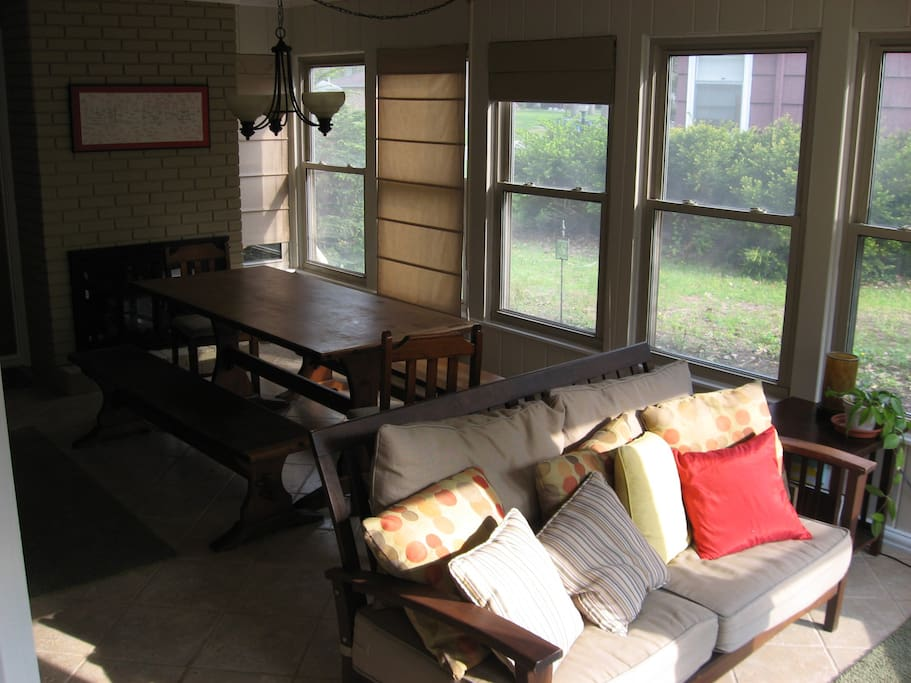 """Sunny, casual dining off the patio.   40"""" HDTV not pictured"""