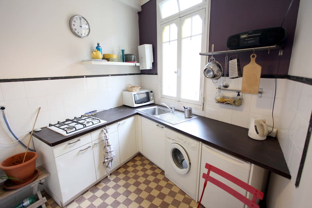 Tiles have been changed. Microwave, washing  machine, kettle