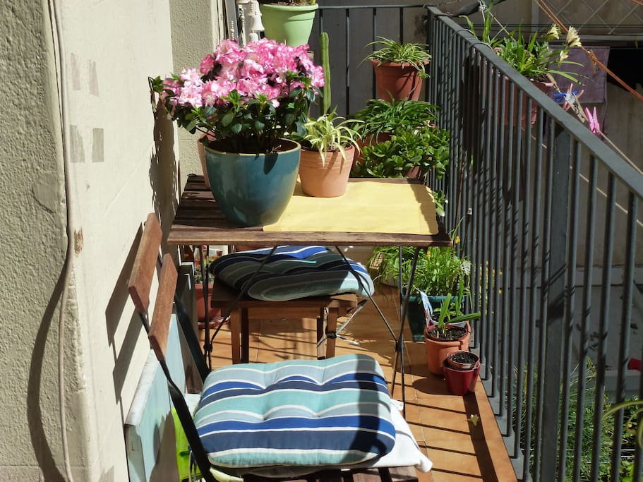 seating outdoors in the balcony