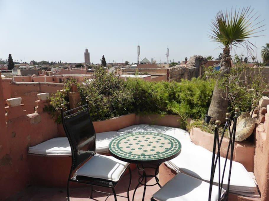 Last terrace giving an amazing view on the medina and the Atlas mountains.