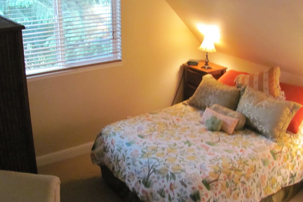 Comfortable Queen bed just off the living area.