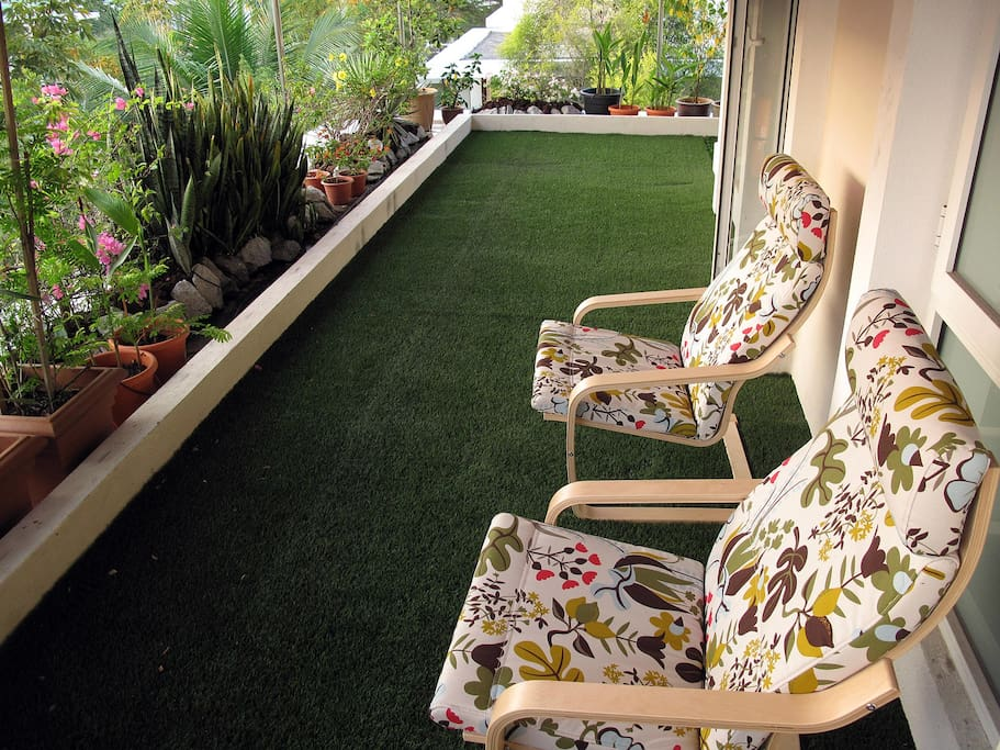 Relax on the third floor balcony and watch the sunbirds and tailorbirds