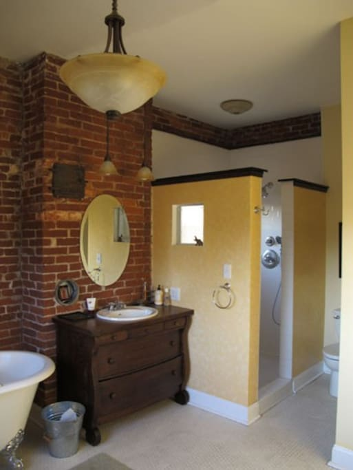 Huge walk-in shower in master bathroom