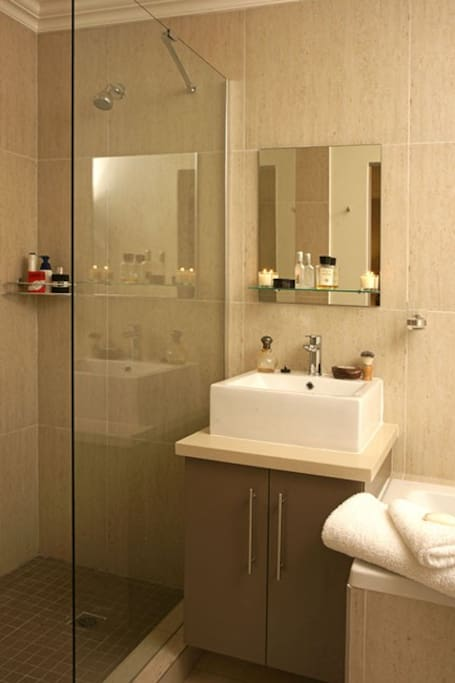 En suite bathroom with bath tub and double shower