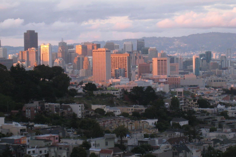 Views of downtown San Francisco & the beautifully illuminated Bay Bridge from the porch