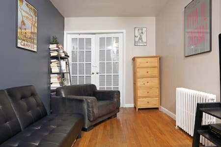 "Small private room in Hells Kitchen, Manhattan.  Near Times Square, Broadway, Central Park.  Room is on the 3rd fl. & has lots of natural light, & full bed. Three blocks from all major subway lines, and next door to ""The Daily Show"" with Jon Stewart!"