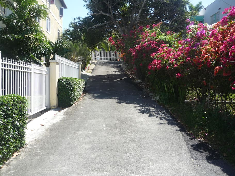 secure, gated property with tropical flowers