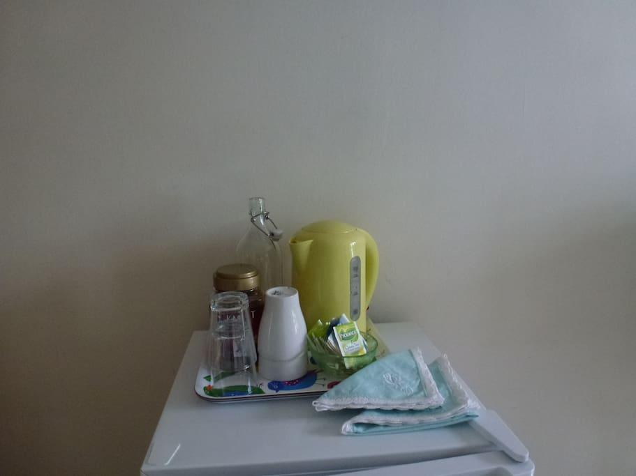 Free coffe and tea. Please you use the fridge