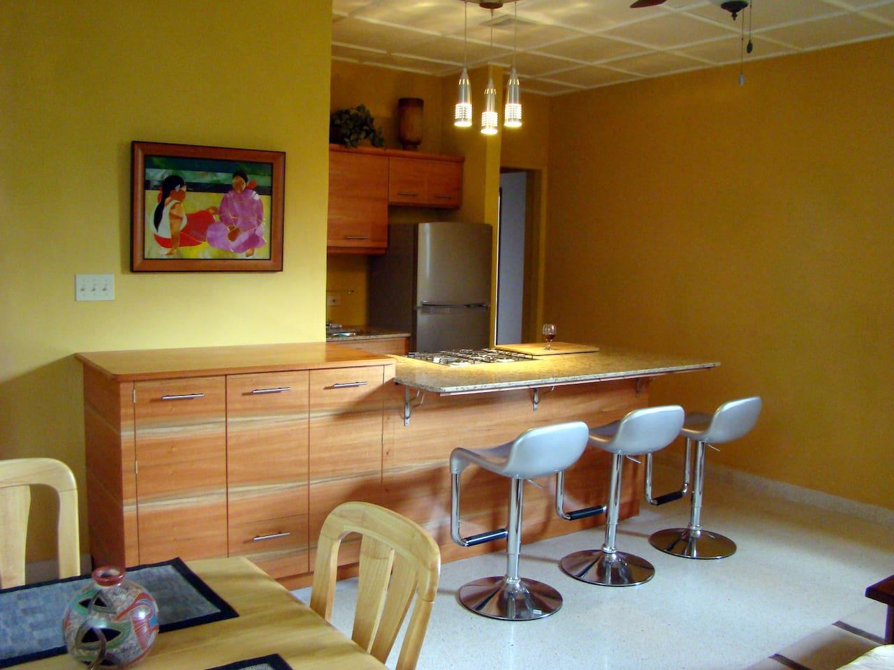 Stainless steel kitchen, granite countertops, custom cabinets-