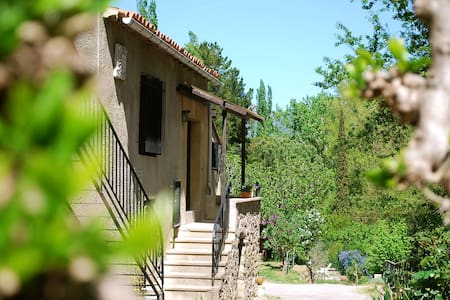 Beautiful gîte set in roughly 1 hectare of wooded grounds and garden with a private swimming pool yet just a fifteen minute stroll from the centre of the beautiful market town of Prades.
