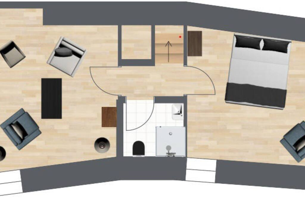Upper Floor - lounge, bathroom, bedroom #1