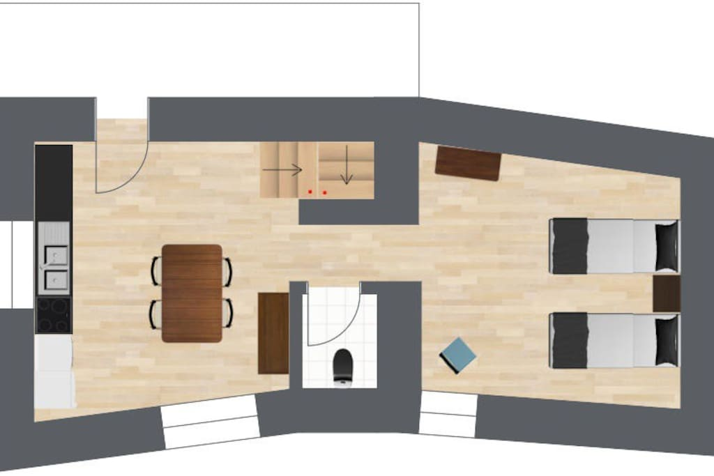 Lower floor - kitchen/diner, toilet, bedroom #2