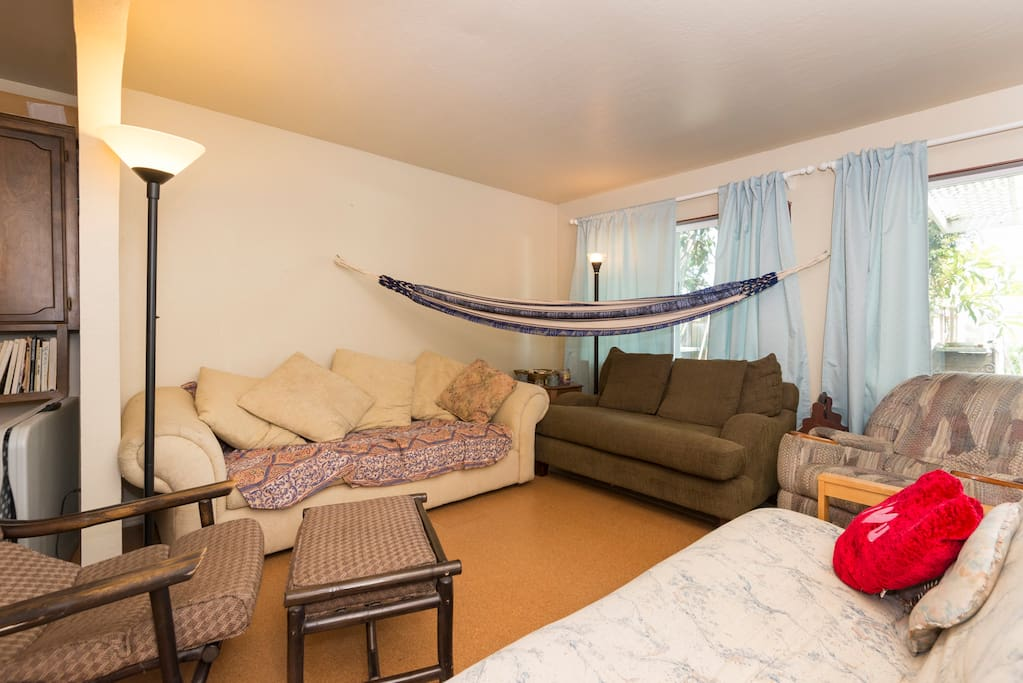 This is our living room space that is available when the bedroom is taken.