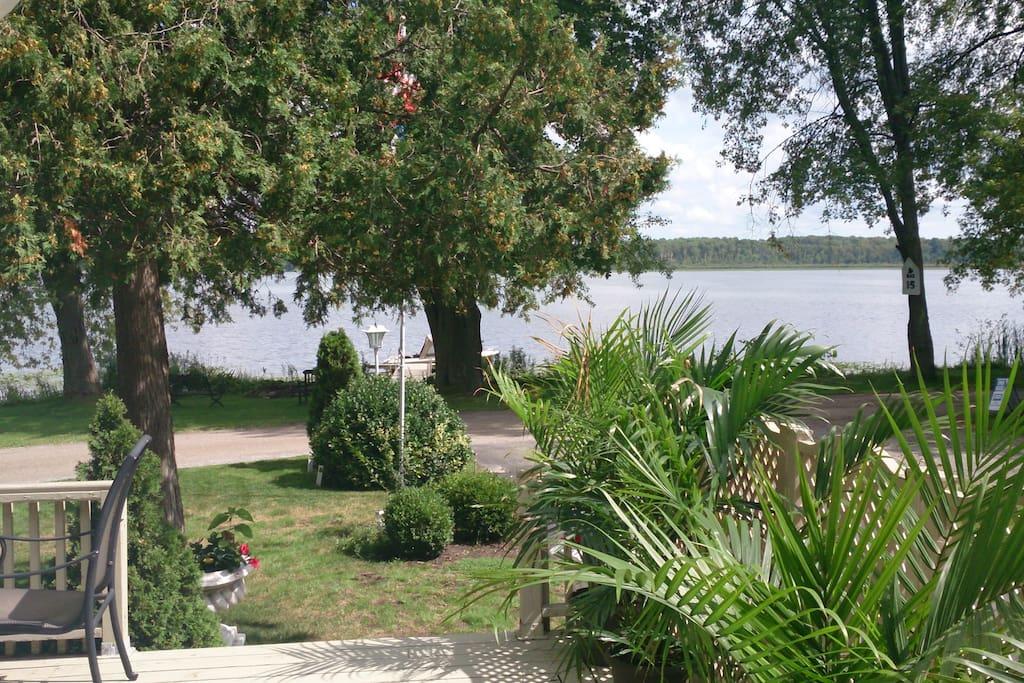 Enjoy stunning views of Lake Scugog from the deck