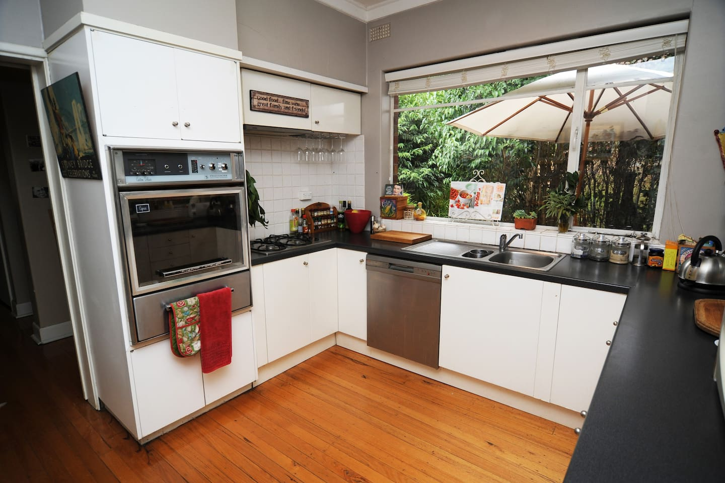 Kitchen with garden views