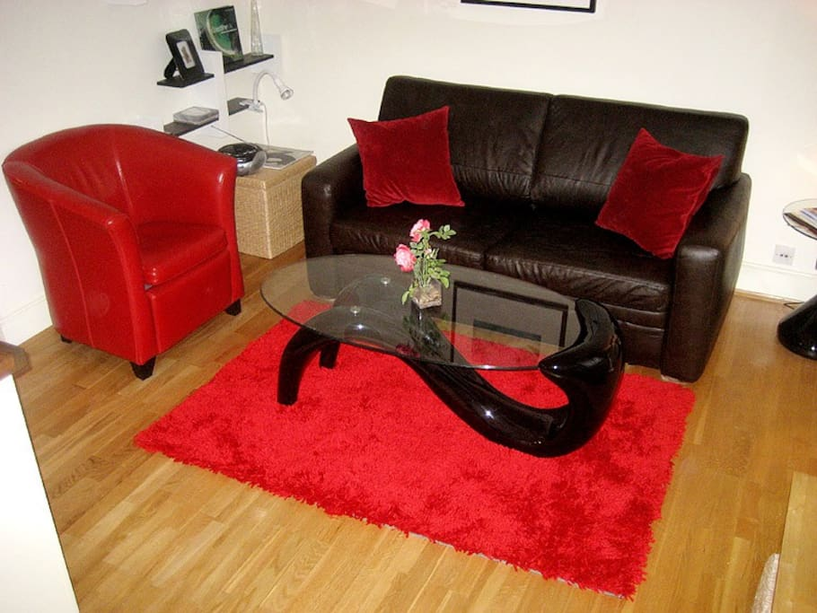 Sitting area with new red rug