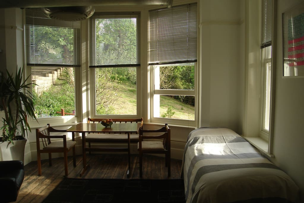 at sunset, looking south. Alternative layout of room on request with 2 single beds plus double on mezzanine.