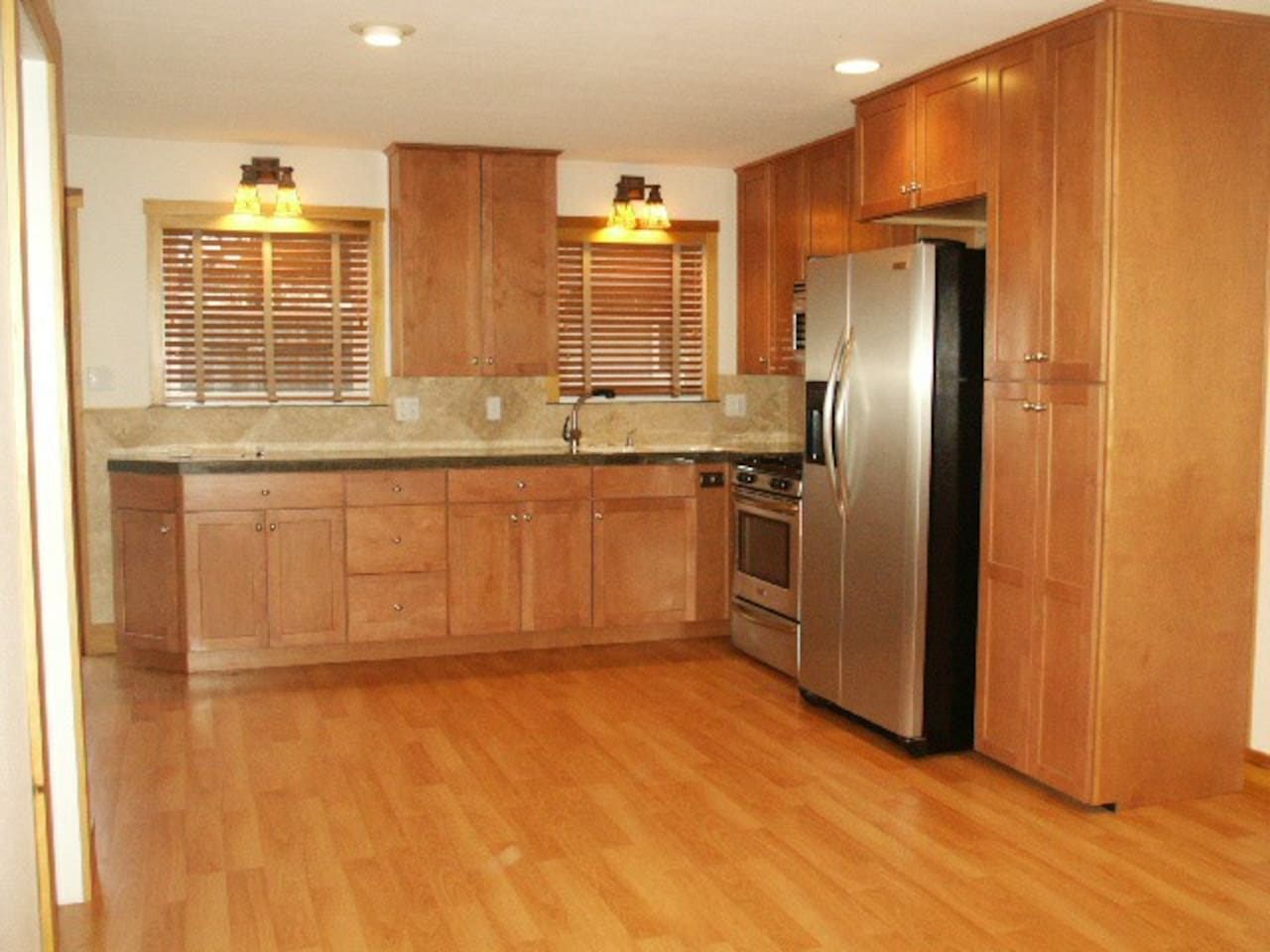 Great kitchen with everything needed to prepare a full meal for a family of 4. BBQ is on the covered patio just outside the sliding glass door.