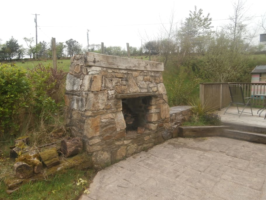 The outdoor fireplace! Weather permitting!