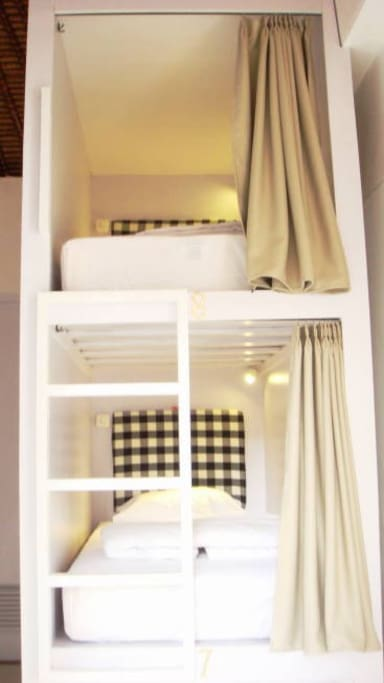 the bunk beds are equipped with LED reading light and electric outlet for your gadgets