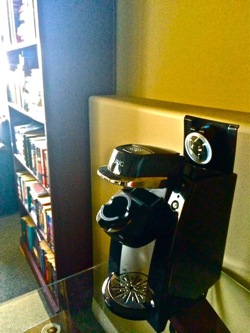 Keurig coffee maker & books to chill out with.