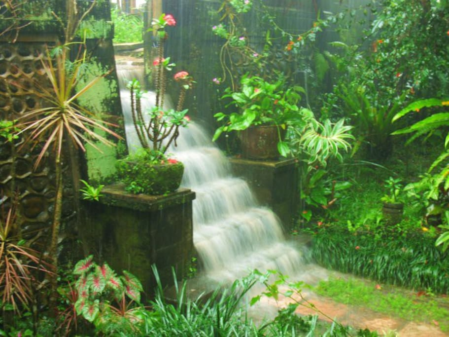 One of the perks of the rainy season. Only during heavy rain and it only lasts a short time before draining away, but you may be treated to a waterfall view right from the porch!