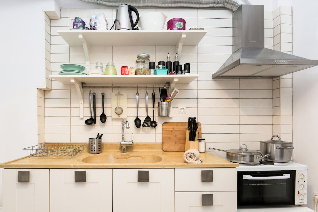 Open shelving kitchen with everything you need to prepare a meal