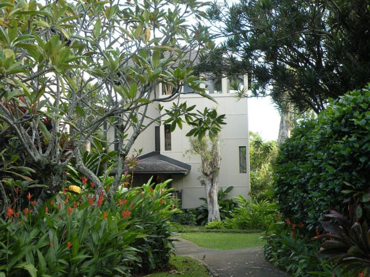 Mature tropical gardens surround the property