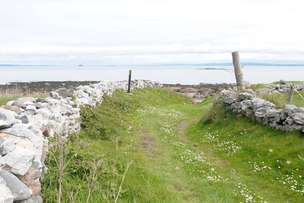 The pathway down to the beach and around the point which runs next to the cottage.