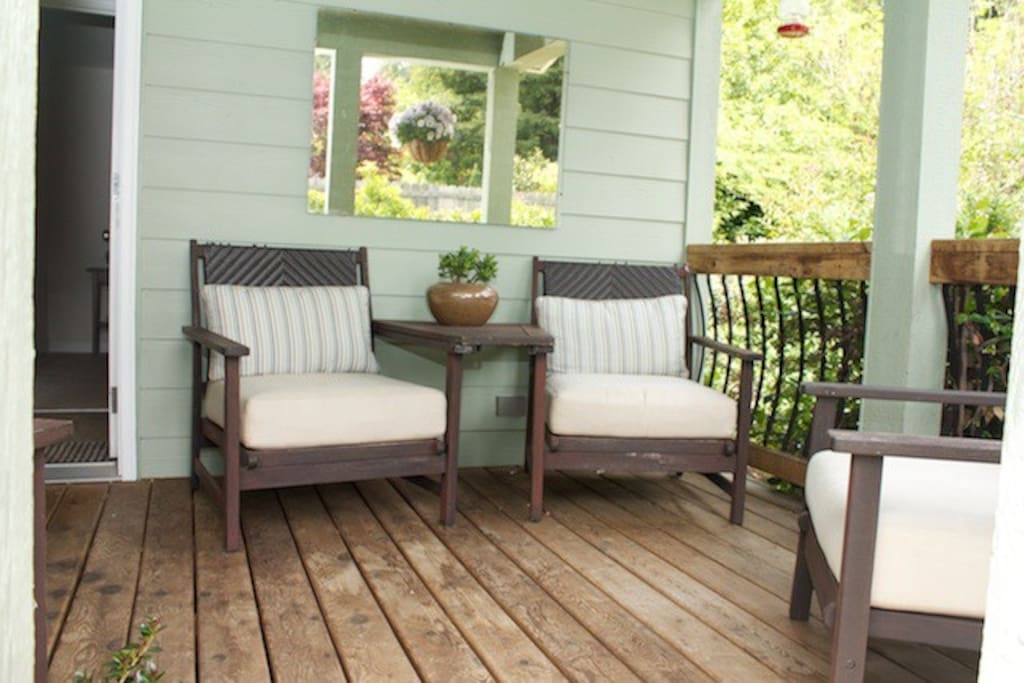 The front porch is the perfect place to relax and contemplate your day...